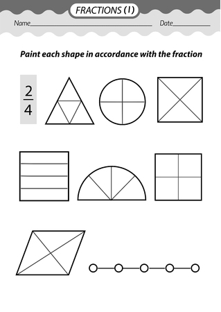 Training material- coloring book. Solve examples and color fractions .Black and white vector illustration. Vetores