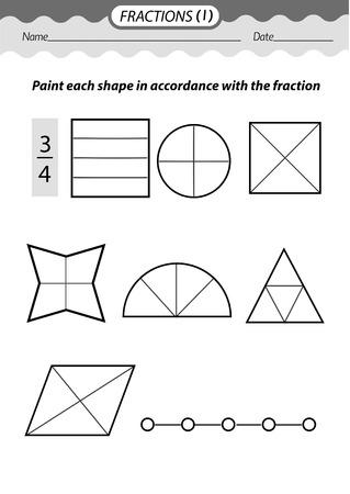 Materiale didattico: libro da colorare. Risolvi esempi e frazioni di colore. Illustrazione vettoriale in bianco e nero.