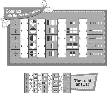iq juego educativo para niños y adultos Juego de tareas conecta con las fracciones correctas. Ilustración vectorial en blanco y negro Ilustración de vector