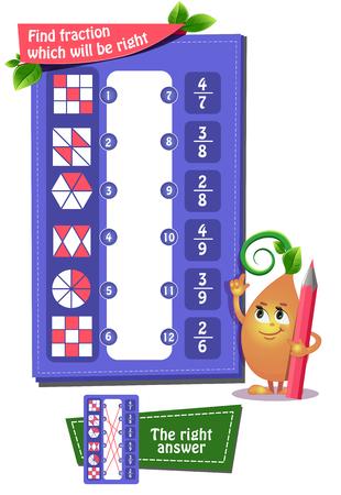 juego educativo iq para niños y adultos desarrollo de la lógica, iq. Juego de tareas encuentra la facción que será la correcta Ilustración de vector