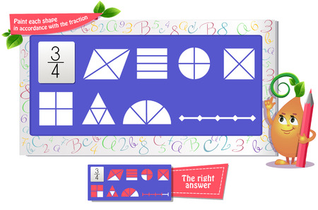 educational game iq for kids and adults development of logic, iq. Task game paint each shape in accordance with the fraction Vettoriali