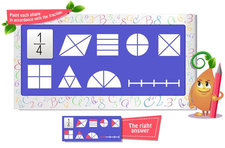juego educativo iq para niños y adultos desarrollo de la lógica, iq. El juego de tareas pinta cada forma de acuerdo con la fracción.