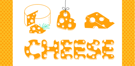 Slices of cheese and the inscription of cheese in a flat style.  Set of cheese icons