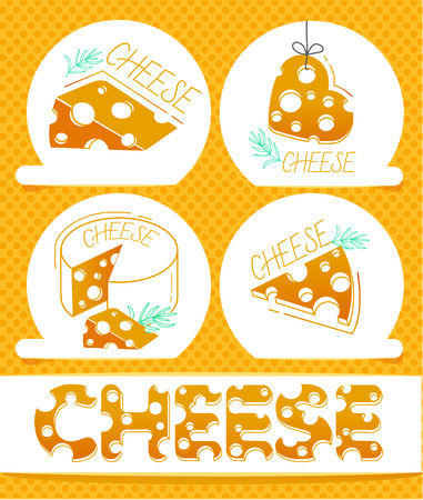 Slices of cheese and the inscription of cheese in a flat style .  Set labels of cheese icons