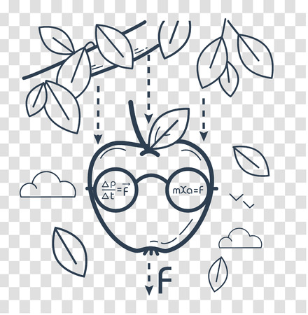 concept of knowledge, science, learning in the form of a funny Newtonian apple. black and white illustration. Icon in the linear style