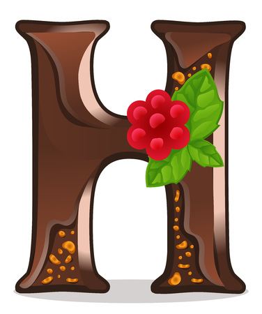Cards for children for learning the alphabet. Letter h as chocolate, in the form of candies and cakes . Vector Illustration