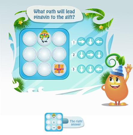 Gioco educativo visivo, per bambini e adulti, sviluppo della logica, iq. Compito del gioco quale percorso porterà Pingvin al regalo.