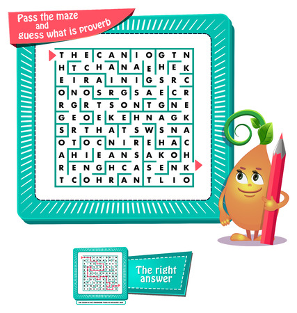 educational game for kids and adults development of logic, iq. Task game for children pass the maze and guess what is proverb