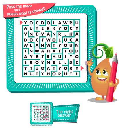 gioco educativo per bambini e adulti sviluppo della logica, iq. Gioco di compiti per bambini passa il labirinto e indovina qual è il proverbio