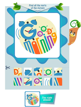 educational game for kids and adults development of attention. Task game for children  find all the parts of the picture Stock Vector - 113800622