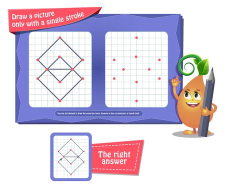 Gioco educativo visivo per bambini e adulti. libro da colorare per lo sviluppo del cervello e iq. Il gioco delle attività disegna un'immagine solo con un solo tratto Vettoriali