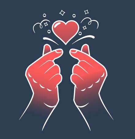 korean heart hand gesture symbol. Symbol of the heart and love. Korea finger heart. Icon in the linear style. Illusztráció