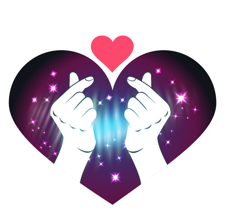 concept of love in the soul, as the emergence of love at the click of a finger. Korea finger heart.