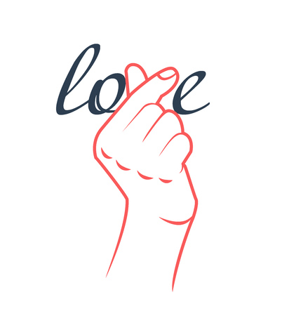concept of the word love with a korean symbol from a fingers in the shape of a heart Vektorové ilustrace