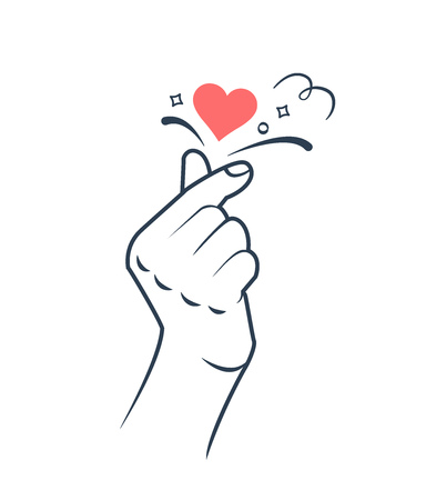 Mano haciendo el signo del corazón. Signo de amor coreano. Símbolo del corazón y del amor. Corazón de dedo de Corea. Icono de estilo lineal.