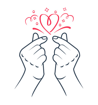 korean heart hand gesture symbol. Symbol of the heart and love. Korea finger heart. Icon in the  イラスト・ベクター素材