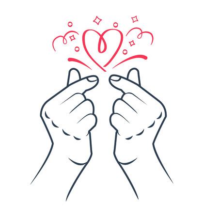 simbolo del gesto della mano del cuore coreano. Simbolo del cuore e dell'amore. Cuore del dito della Corea. Icona nel