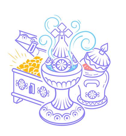 icona in stile disegnato a mano con le tradizionali offerte dei Magi per celebrare l'Epifania: incenso, mirra e oro. Icona in stile lineare Vettoriali