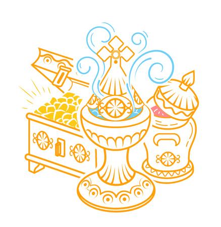icona in stile disegnato a mano con le tradizionali offerte dei Magi per celebrare l'Epifania: incenso, mirra e oro. Icona in stile lineare