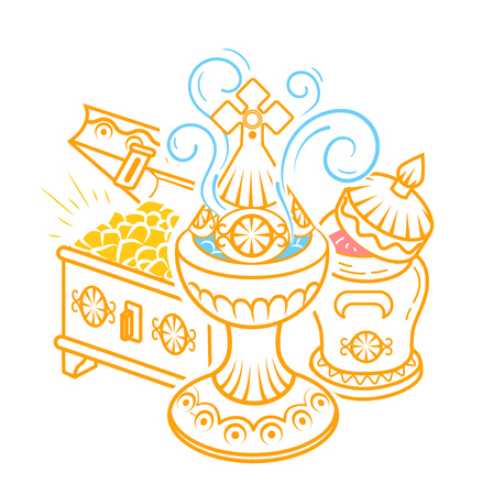 icon in hand drawn style with traditional Magi offerings to celebrate Epiphany: frankincense, myrrh and gold. Icon in a linear style Illustration