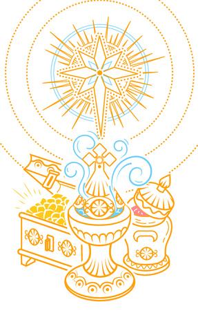 Banner in stile disegnato a mano con offerte tradizionali dei Magi per celebrare l'Epifania: incenso, mirra e oro.