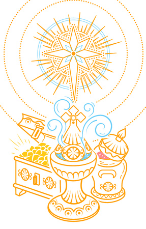 Banner in hand drawn style with traditional Magi offerings to celebrate Epiphany: frankincense, myrrh and gold. Illustration