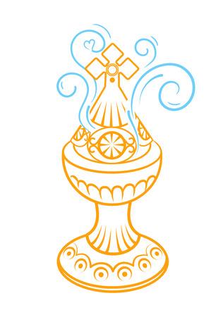 Icône de brûleur d'encens. Icône de brûleur d'encens vecteur plat sur fond blanc. Icône, silhouette dans un style linéaire.