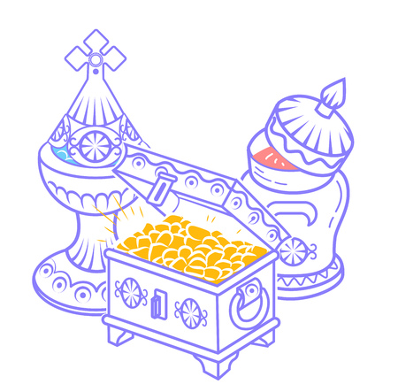 icon in hand drawn style with traditional Magi offerings to celebrate Epiphany: frankincense, myrrh and gold. Icon, silhouette in a linear style