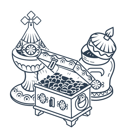 black and white icon with traditional Magi offerings to celebrate Epiphany: frankincense, myrrh and gold on a white background. Icon, silhouette in a linear style/ Vektoros illusztráció