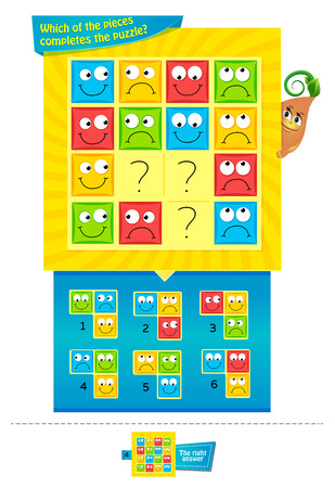 jeu éducatif pour le développement de l'attention des enfants et des adultes. Jeu de tâches pour enfants - laquelle des pièces complète le puzzle? Vecteurs