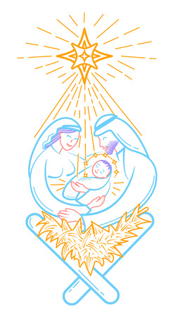 Bible scene illustration the Nativity of jesus christ. Holy family. Merry christmas icon in linear style