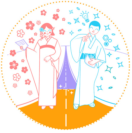 concept of an important moment in life as a road on which a woman and a man walk, their goals and dreams. Icon for the coming of age day  in Japan, graduation from school, institute Ilustrace