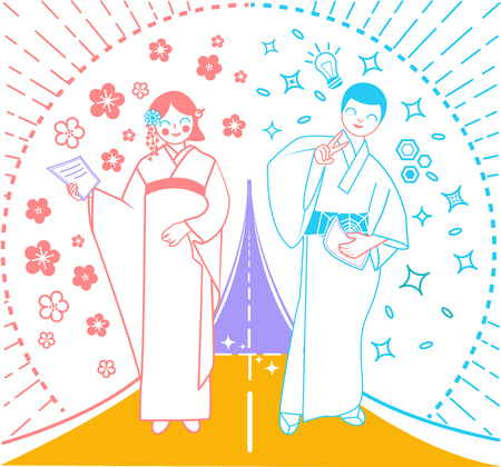concept of an important moment in life as a road on which a woman and a man walk, their goals and dreams. Icon for the coming of age day  in Japan, graduation from school, institute Illustration