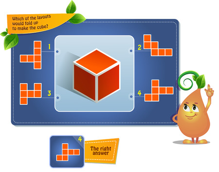 jeu éducatif pour les enfants, puzzle. développement de la pensée spatiale chez les enfants (convient aussi bien aux enfants qu'aux adultes). Jeu de tâches lequel des agencements se replierait pour former le cube?