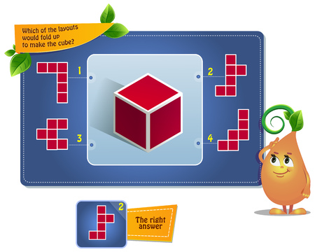 educational game for kids, puzzle. development of spatial thinking in children (suitable both for kids and adults). Task game which of the layouts would fold up to make the cube? Vetores