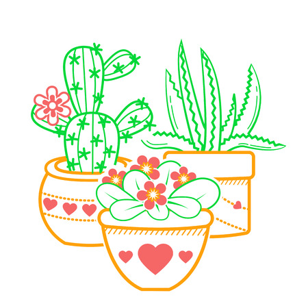 illustration of potted flowers. Linear style icon  イラスト・ベクター素材