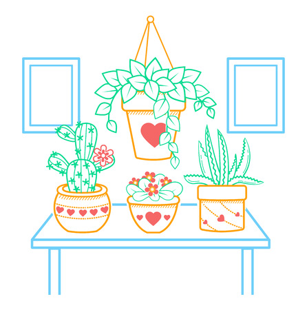 illustration of a room with flowers in a linear style.
