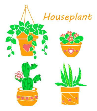 Vector set of modern flat line icons of cactus and succulents, houseplant . Illustration