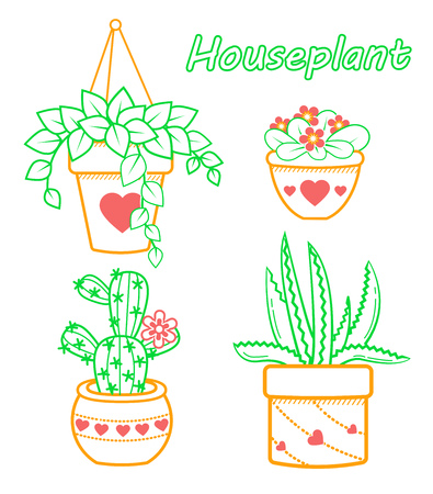 Vector set of modern flat line icons of cactus and succulents, houseplant .  イラスト・ベクター素材