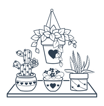 illustration of potted flowers. black and white illustration  イラスト・ベクター素材