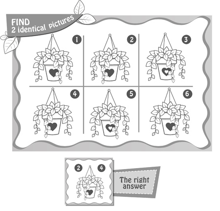 visual game for children and adults. Task  game fnd 2 identical  pictures. black and white illustration Vectores