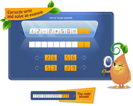educational game for kids, puzzle. development of spatial thinking in children. Task game correctly write and solve an example ( mirror reflection) Illustration
