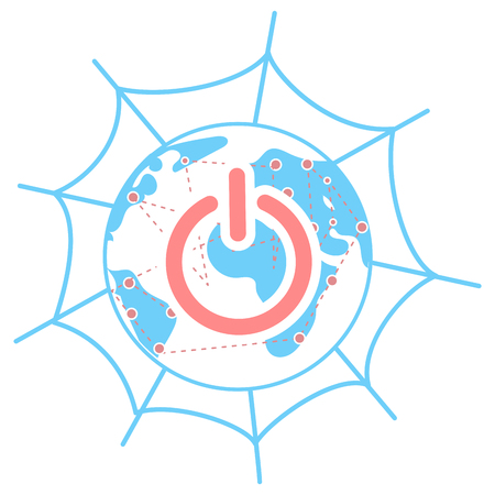 The concept of global communication on the internet through social networks. Linear style icon Illustration