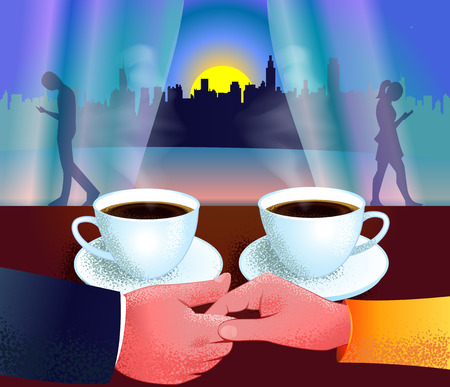 concept of live communication, abandonment of mobile as a couple sitting in a cafe and silhouettes of people walking and dependent on mobile