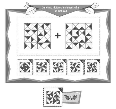 jeu éducatif noir et blanc pour enfants et adultes développement de la logique, iq. Jeu de tâches unissez deux images et devinez ce qui est illustré