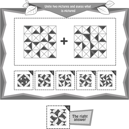 educational game black and white for kids and adults development of logic, iq. Task game  unite two pictures and guess what is pictured