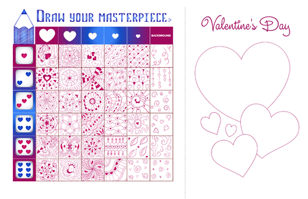 Educational game on the development of creativity and drawing skills. Postcard Valentine's Day do it yourself, draw your masterpiece
