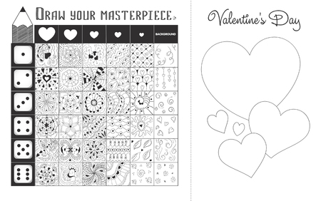 Educational game on the development of creativity and drawing skills. Postcard Valentine's Day do it yourself, draw your masterpiece Vector Illustratie