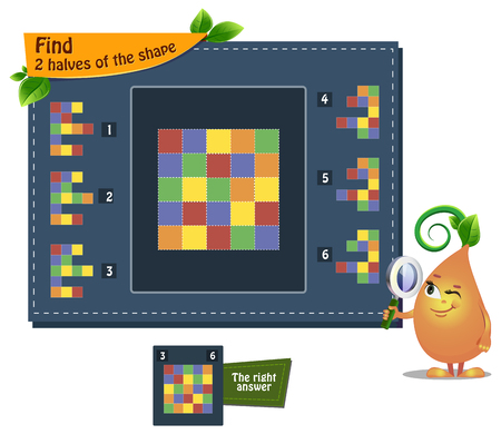 educational game iq for kids and adults development of logic, iq. Task find 2 halves of the shape Illustration