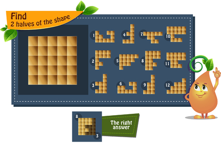 educational game iq for kids and adults development of logic, iq. Task find 2 halves of the shape Vettoriali